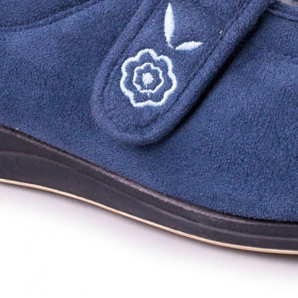 19e16a661725 Padders CAMILLA Ladies Microsuede Extra Wide (2E) Full Slippers Denim Blue