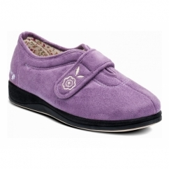 Padders CAMILLA Ladies Microsuede Extra Wide (2E) Full Slippers Lavender