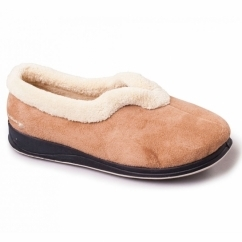 CARMEN Ladies Microsuede Extra Wide (EE) Fitting Full Slippers Camel