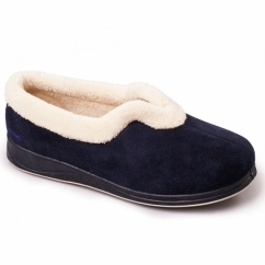 CARMEN Ladies Microsuede Extra Wide (EE) Fitting Full Slippers Navy