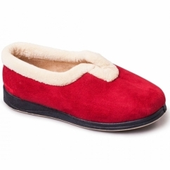 CARMEN Ladies Microsuede Extra Wide (EE) Fitting Full Slippers Red