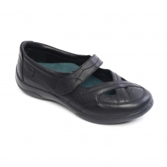 Padders CELLO Ladies Leather Velcro Mary Jane Shoes Black Combi