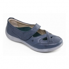 Padders CELLO Ladies Leather Extra Wide (2E/3E) Mary Jane Shoes Ocean