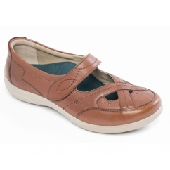 CELLO Ladies Leather Wide EE/EEE Fit Mary Jane Shoes Tan