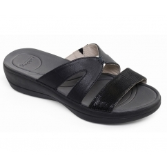 Padders CHARLIE Ladies Leather Extra Wide (2E) Mule Sandals Black/Combi
