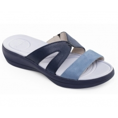 Padders CHARLIE Ladies Leather Extra Wide (2E) Mule Sandals Blue/Combi