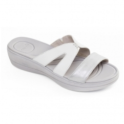 Padders CHARLIE Ladies Leather Extra Wide (2E) Mule Sandals White/Silver