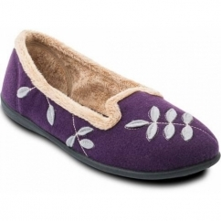 CHEER Ladies Felt Wide Fitting Ballerina Slippers Purple