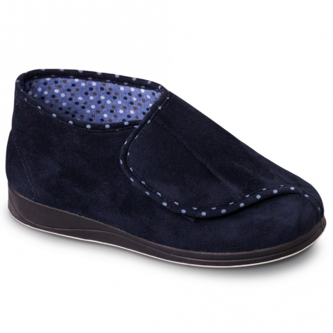Padders CHERISH Ladies Extra Wide Fit Velcro Full Slippers Navy