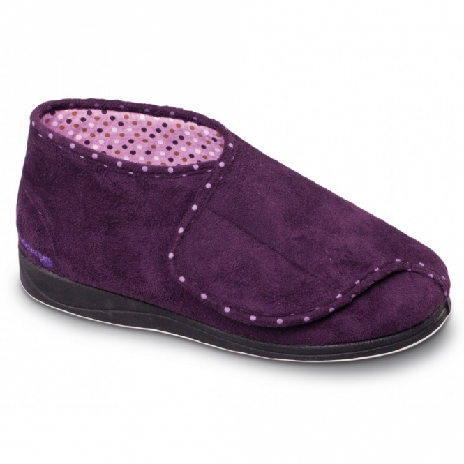 Padders CHERISH Ladies Extra Wide Fit Velcro Full Slippers Purple