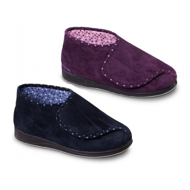 6e24ad3e86a CHERISH Ladies Microsuede Extra Wide (2E) Boot Slippers Purple