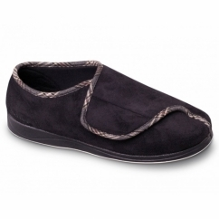CHRIS Mens Microsuede Velcro Wide Fit Full Slippers Black