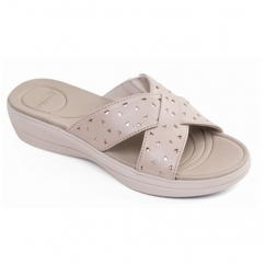 Padders CLARA Ladies Leather Extra Wide (2E) Mule Sandals Beige/Combi