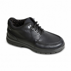 CREST Mens Leather Extra Wide Waterproof Shoes Black