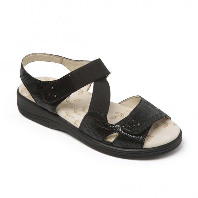 dced18dd35a Padders CRUISE Ladies Extra Wide Sandals Black Reptile