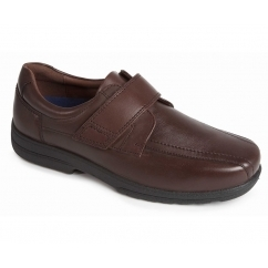 DANIEL Mens Leather Dual Fit Smart Touch Close Shoes Brown