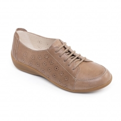 Padders DARCY 2 Ladies Leather Extra Wide (2E) Shoes Biscuit