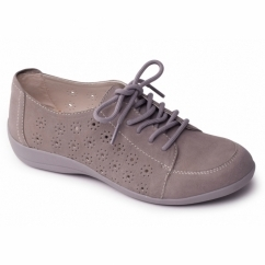 DARCY Ladies Leather Extra Wide Lace Up Shoes Grey
