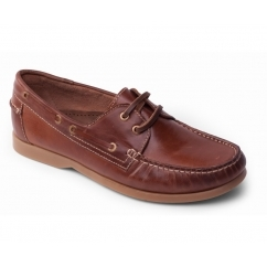 DECK Mens Leather Casual Wide Fit Boat Shoes Tan