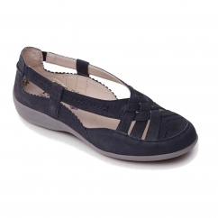 DELTA Ladies Leather Extra Wide (2E) Shoes Navy