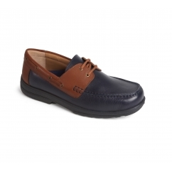 DEVON Mens Leather Extra Wide/Plus Boat Shoes Navy