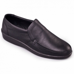 DIGGER Mens Leather (F Fit) Loafers Black