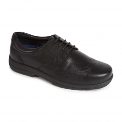 DOMINIC Mens Leather Extra Wide Plus Brogue Shoes Black