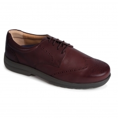 DOMINIC Mens Leather Extra Wide Plus Brogue Shoes Brown