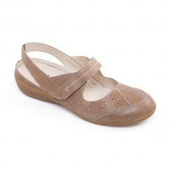DONNA 2 Ladies Leather Extra Wide (2E) Shoes Biscuit