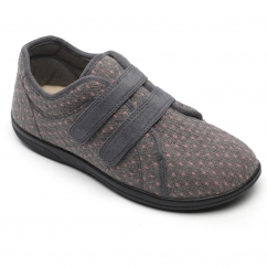 Padders DUO Ladies Textile Extra Wide (2E/3E) Slippers Grey