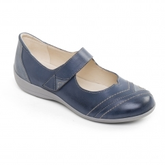 DWELL 2 Ladies Leather Extra Wide (2E) Mary Jane Shoes Blue