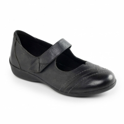 Padders DWELL Ladies Leather Extra Wide (2E) Mary Jane Shoes Black