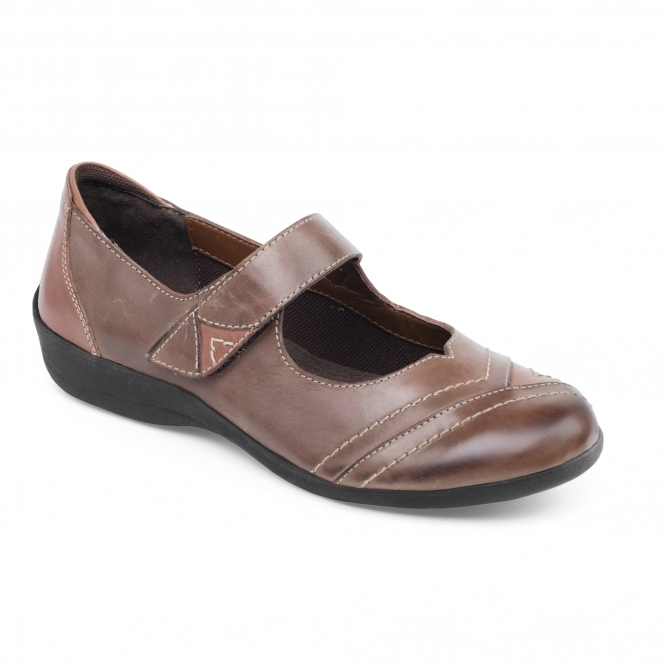 Padders DWELL Ladies Leather Extra Wide (2E) Mary Jane Shoes Brown