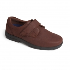 DYLAN Mens Leather Extra Wide Plus Touch Fasten Shoes Chestnut