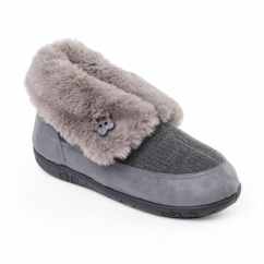 EDEN Ladies Faux Fur Extra Wide Fit Boot Slippers Grey