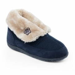 EDEN Ladies Faux Fur Extra Wide Fit Boot Slippers Navy