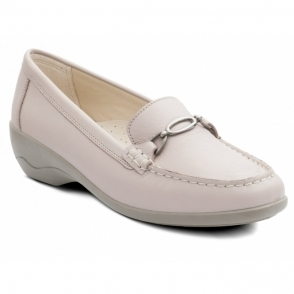 6bf5deabf53 ELLEN Ladies Leather Extra Wide (2E) Moccasin Loafers Nude