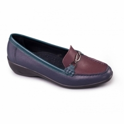 ELLEN Ladies Leather Extra Wide Moccasin Loafers Navy/Bordeaux
