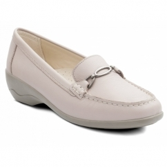 ELLEN Ladies Leather Extra Wide Moccasin Loafers Nude