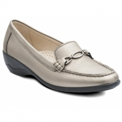 ELLEN Ladies Leather Extra Wide Moccasin Loafers Pewter