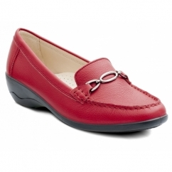 ELLEN Ladies Leather Extra Wide Moccasin Loafers Red