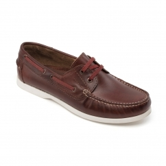 Padders EMBARK Mens Leather Wide (G Fit) Deck Shoes Chestnut