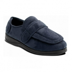 Padders ENFOLD Unisex Microsuede Extra Wide (2E) Full Slippers Navy