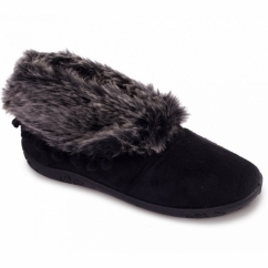 ESKIMO Ladies Faux Fur EE Wide Fit Boot Slippers Black