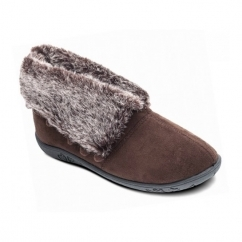 ESKIMO Ladies Faux Fur EE Wide Fit Boot Slippers Brown