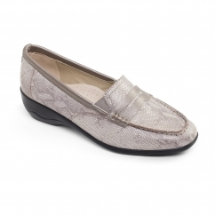 ESTHER 2 Ladies Leather Extra Wide (2E) Loafers Reptile Metallic