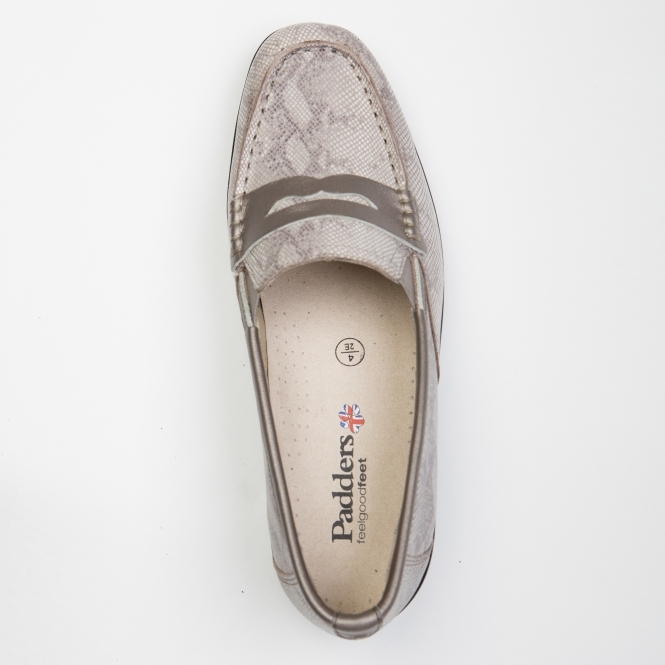 1f3804b1145 Padders ESTHER 2 Ladies Leather Extra Wide (2E) Loafers Reptile Metallic