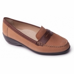 ESTHER Ladies Leather Extra Wide (2E) Loafers Tan
