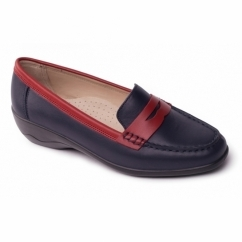 ESTHER Ladies Leather Extra Wide Loafers Navy