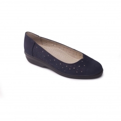 FAYE Ladies Leather Extra Wide (2E) Pumps Navy